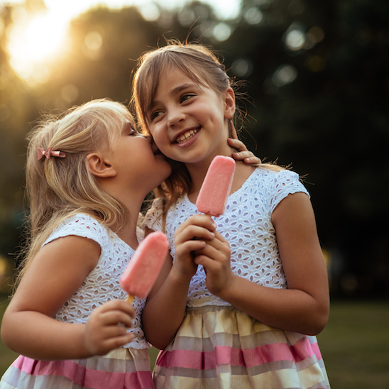 Little girls with ice cream